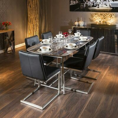 Modern Ceramic Blue Marble Table Dining Set +6 X Black Low Back Chairs • 1,375£