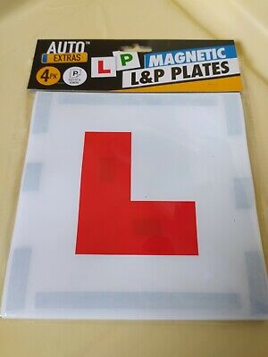 4 Pack Strong Magnetic L And P Plates For Learner Pass Test Driving Instructor  • 3£