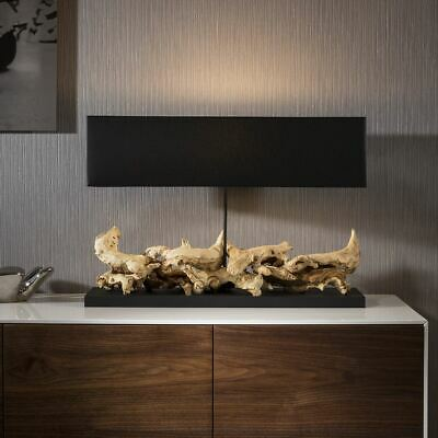 £539 • Buy Beautiful Unique Modern Driftwood Table Lamp /light Black Shade Bissau