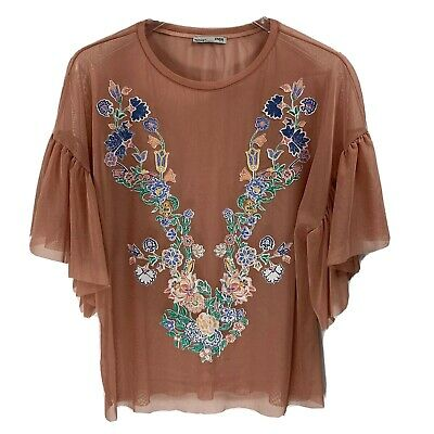 $14.99 • Buy ZARA Pink Sheer Embroidered Applique Print Top With Ruffle Sleeves: Size Small