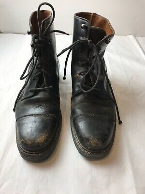 """$40 • Buy Cole Haan Mens """"Distressed""""Black Leather Mid Lace Boots 6.5 - Pre-owned."""