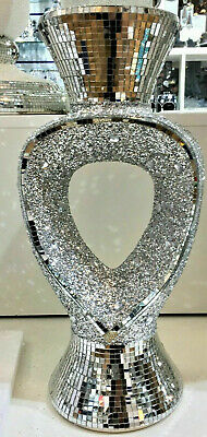 Silver Vase Mirrored Crushed Mosaic Finish Italian 30cm Home Decor • 31£