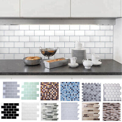 3D Kitchen Tile Stickers Bathroom Mosaic Sticker Self-adhesive Wall Decoration • 9.95£