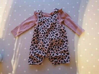 Baby Girl Animal Print Leopard Print Romper And Vest 9-12 Months • 2.99£