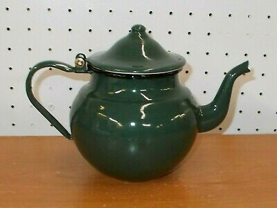 $16.50 • Buy Vintage Green Enamel Teapot Black Trim Camping Pot Kettle In Very Good Condition