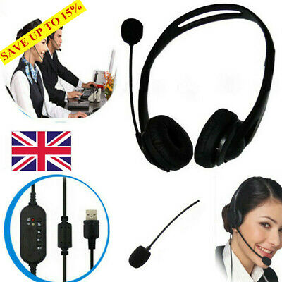USB Noise Cancelling Microphone Headset Call Centre Office Telephone Corded • 11.71£