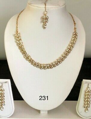 £9.99 • Buy Indian Bollywood Fashion Diamond Gold Jewellery Set Earrings Necklace For KIDS