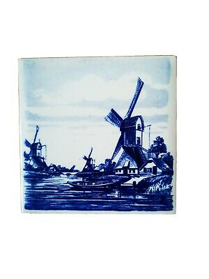 £9.99 • Buy Handmade Delft Blauw Windmill Ceramic Tile Vintage Collectable Holland