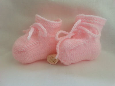 Baby Booties Hand Knitted PALE PINK Newborn Or 0-3 Months GIRL Baby Shoes New  • 3.80£