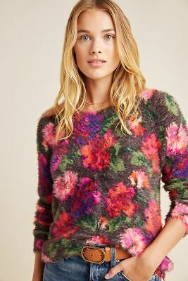 $ CDN111.72 • Buy Anthropologie Ariel Eyelash Sweater Vibrant Floral Pullover Size XS NEW