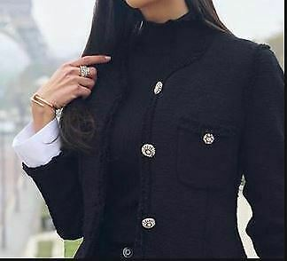 $13.99 • Buy Zara Black Tweed  Jacket With Removable White Cuffs **SEE DETAILS**   SZ  L