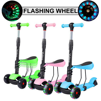 Kids Scooter Child Boys Girls Toddler Push Scooter With Seat Flashing LED Wheel • 23.79£
