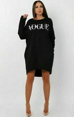 Ladies High Low Dip Vogue Slogan Jumper Women Baggy Oversized Shirt Dress Top • 12.95£