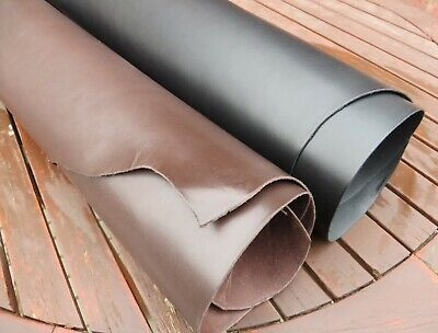 2mm THICK DYED THROUGH VEG TAN COWHIDE LEATHER - CRAFT - TOOLING - BLACK - BROWN • 5.50£