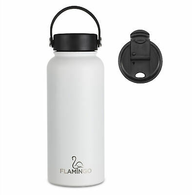 AU34.95 • Buy 1 Litre Insulated Water Bottle/Thermos-18/8 Stainless + 2 X LIDS - All Day Cold