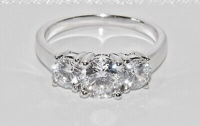 Sterling Silver 925 2.00ct Ladies Three Stone Ring ~ All Sizes • 10.95£