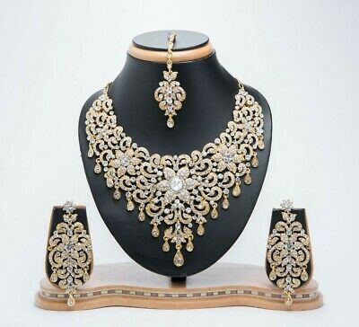 £18.99 • Buy Indian Bollywood Fashion Diamond Necklace Set Gold With Earrings & Tikka