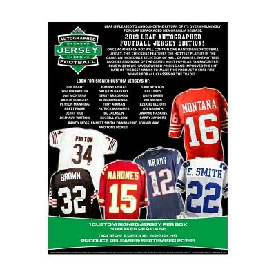 $10 • Buy NEW YORK GIANTS 2019 Leaf Autographed Football Jersey 5 Box 1/2 CASE Break