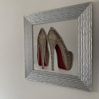 Louboutin Shoes Liquid Wall Art Clear Diamante Detailing Picture Frame Silver • 57£