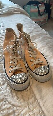 Converse High Tops With Swarovski Crystal Embellishment Work Once Size 5 / 38 • 15£