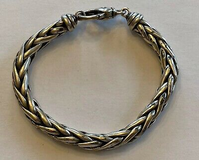 "$159 • Buy LG Chunky Heavy Solid Sterling Silver FOXTAIL Weave 8MM Bracelet 8.5"" Mex Taxco"