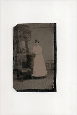 £7.25 • Buy G-246 Woman Lady In Dress Next To Ornate Fireplace 1/6th Tintype Photo