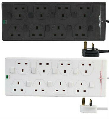 8 Way Mains Surge Protected Extension Lead Switch 1m 2m 5m 10m Gang Socket Power • 17.99£