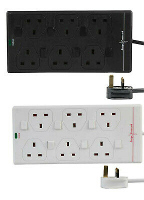 6 Socket Way Mains Surge Protected Extension Lead Switched 1m 2m 5m 10m UK Plug • 14.69£