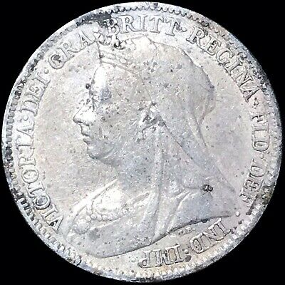 $12.99 • Buy 1898 Great Britain Sixpence KM #779 Foreign Silver Coin Queen Victoria
