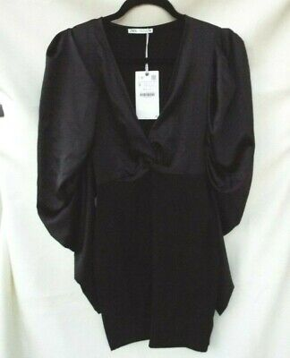 $8.99 • Buy Zara Black Fitted Mini Dress With Puff Sleeves With Knot Detail SZ S