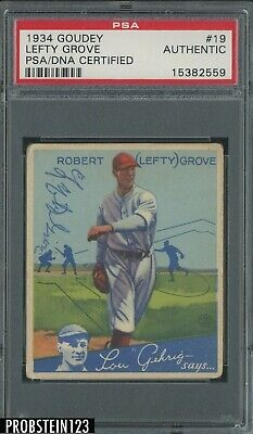 $34 • Buy 1934 Goudey #19 Lefty Grove HOF Signed AUTO Boston Red Sox PSA/DNA