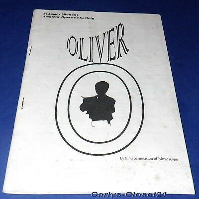 £2.99 • Buy ST JAMES' (BOLTON) AMATEUR OPERATIC SOCIETY * Oliver * 1996 Programme *