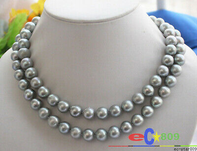 $75 • Buy P2348  REAL 32  12mm ROUND TAHITIAN GRAY PEARL NECKLACE MABE