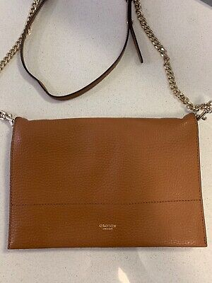 AU100 • Buy Oroton Cross Body Bag/ Clutch Brown Leather Gold Chain Perfect Condition