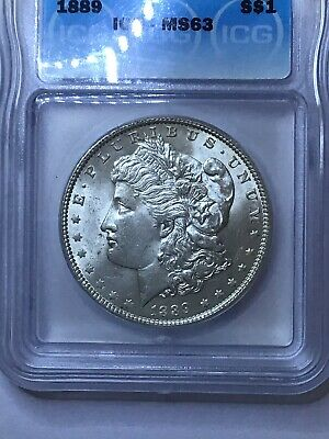 $56.89 • Buy 1889-p Morgan Silver Dollar Icg Ms63 Uncirculated Gem Bast White *look Photo's*
