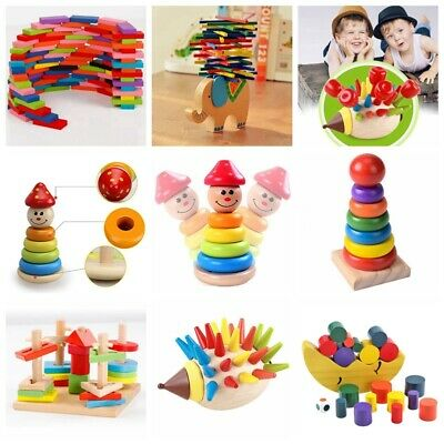 Baby Kid Montessori Educational Toy Wooden Puzzle Stacking Blocks Early Learning • 5.99£