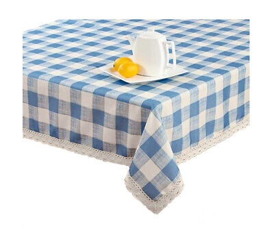 $29.99 • Buy Blue Farmhouse Tablecloth Rectangle 60 X 84 Checked With Crocheted Lace Border