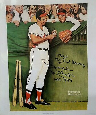$ CDN100 • Buy Autographed HOF Brooks Robinson Norman Rockwell  Gee Thanks, Brooks!  Print-COA