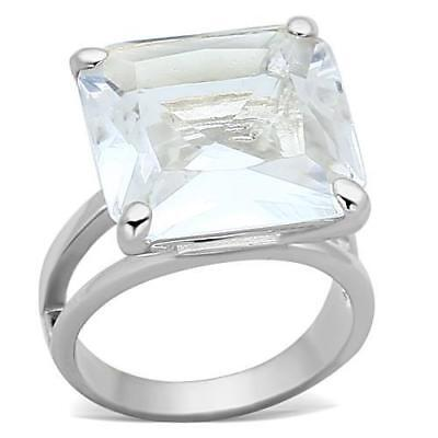 Ladies Princess Cut Ring Sterling Silver 10 Carat Cocktail Solitaire Square 949  • 24.99£