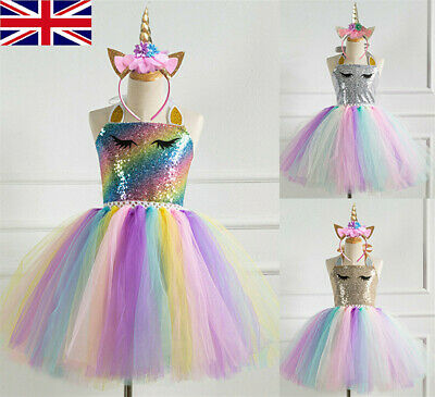 Kids Flower Girls Party Unicorn Tutu Sequin Fancy Dress Costume Headband Outfit • 11.66£