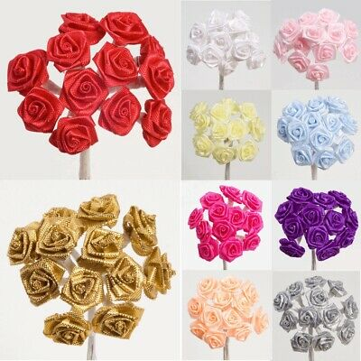 Ribbon Roses On Stem Miniature Wired Satin - 15mm Flowers Craft Embellishment • 1.94£