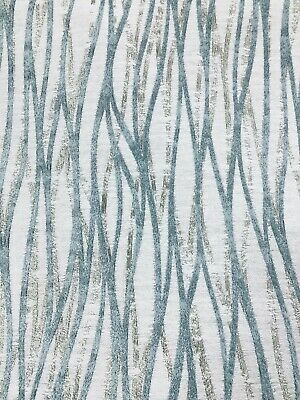 Duck Egg Blue And Silver Bark Pattern Curtain Fabric Material 137cm Wide BR006 • 1.49£