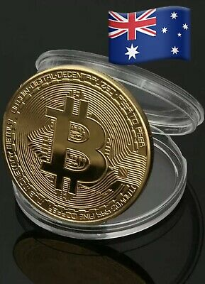 AU5.69 • Buy Bitcoin Commemorative Collectable Gold Plate Coin In Round Plastic Case SYDNEY