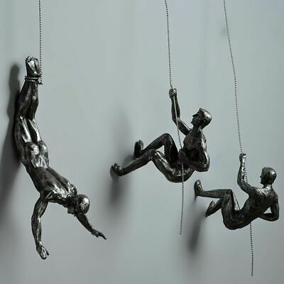 Climbing Man Resin Iron Wire Wall Hanging Decoration Sculpture Figures Creative • 84.89£