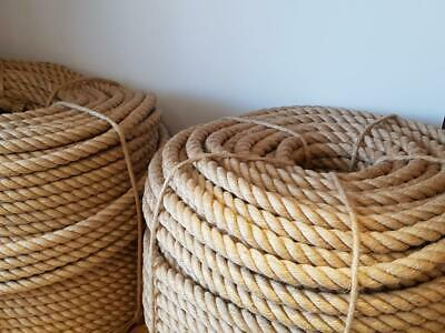 £6.30 • Buy 30 Mm 100% Natural Jute Rope Braided Twisted Decking Cord Garden Boating Camping