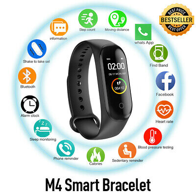 $ CDN10.42 • Buy M4 Smart Watch With Fitness Heart Rate And Blood Pressure Monitor Pedometer