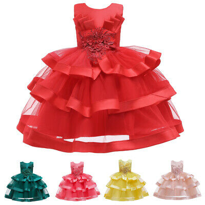 £17.65 • Buy Kids Flower Girls Tutu Dress Princess Embroidery Christmas Formal Pagent Gowns