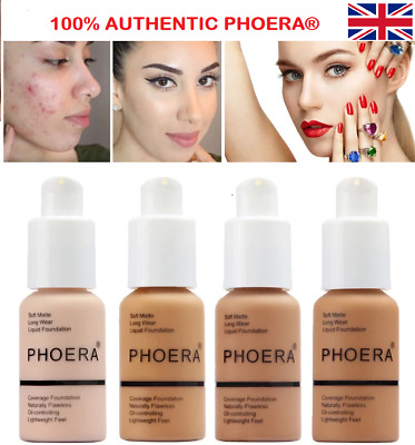 PHOERA® Foundation Concealer Full Coverage Makeup Matte Brighten Long Lasting UK • 6.99£