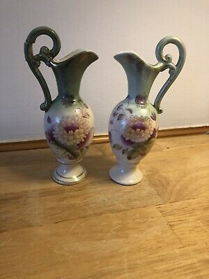 Pair Of Victorian Ewers Blush Green Floral Pottery Jugs • 3.99£