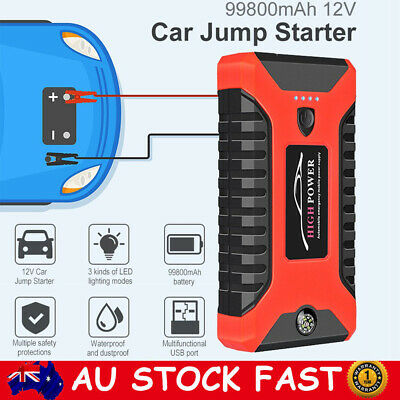 AU81.99 • Buy 99800mAh 12V Car Jump Starter Pack Booster Charger Battery Power Bank Compass AU
